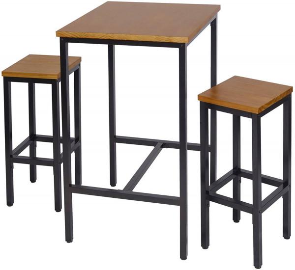 Bartisch Set 3-teilig Bistrotisch mit 2 Stühlen eiche