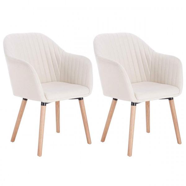 Esszimmerstühle 2er Set Design Stuhl Massivholz + Leinen