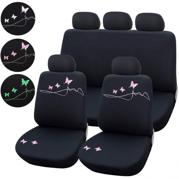 Polyester seat covers with butterfly pattern