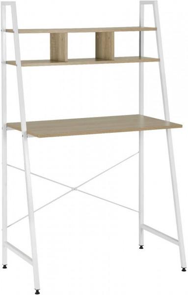 Arbeitstisch aus Holz und Metall mit Ablage Juli,weiß eiche hell