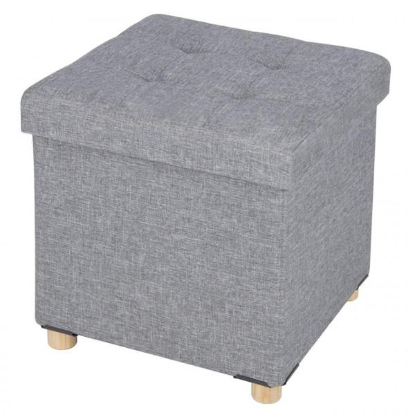Sitzhocker aus Leinen mit Abnehmbaren Holzbeine, Hellgrau