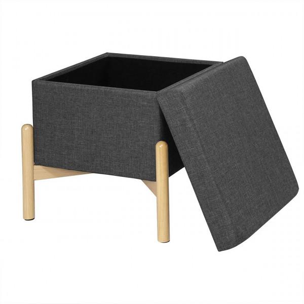 Sitzbank mit Stauraum und Deckel mit Holzfüßen, belastbar bis 150 kg, dunkelgrau