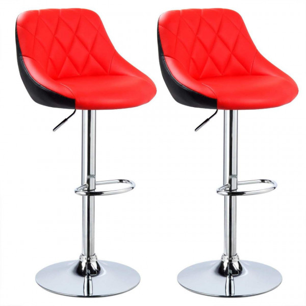 Bar Stools Set of 2 pcs Leatherette Exterior, Adjustable Swivel Gas Lift, Chrome Steel Footrest & Base