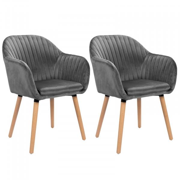 2er-Set Esszimmerstühle aus Samt & Holz Modell Emilie