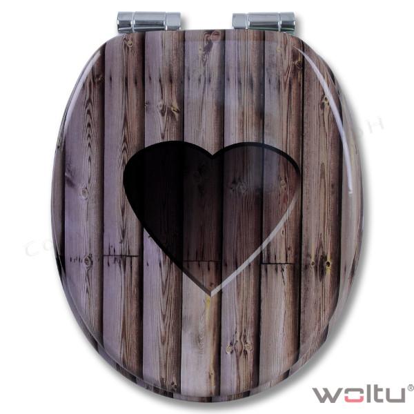 WC-Sitz MDF Holz Herz mit Absenkautomatik