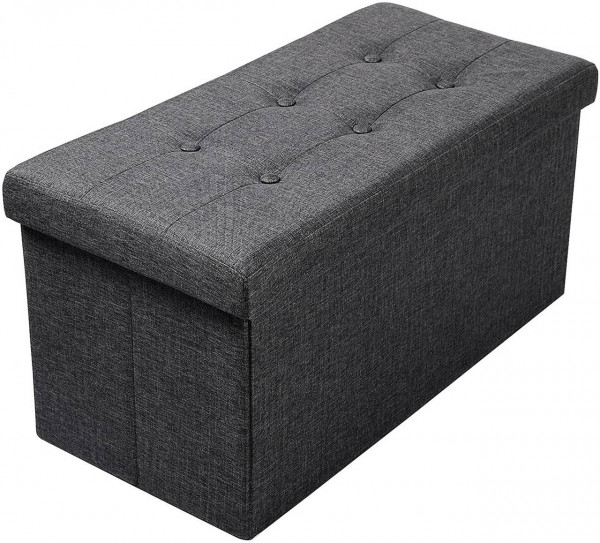 Sitzhocker mit Stauraum aus Leinen Modell Qulina, dunkelgrau