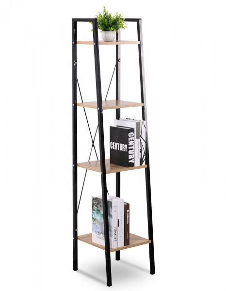 Standregal aus Metall & Holz mit 4 Ablagen, Modell Ani, schwarz-eiche hell