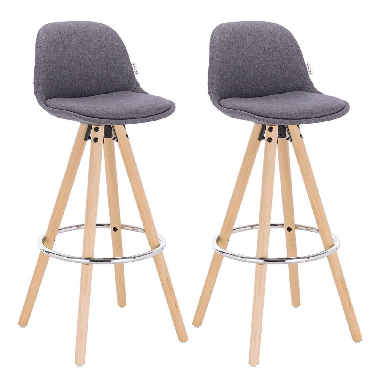 Barhocker 2er Set Barstuhl Aus Leinen Holzgestell Mit Lehne Fussstutze Design Stuhl Kuchenstuhl Optimal Komfort Woltu Eu