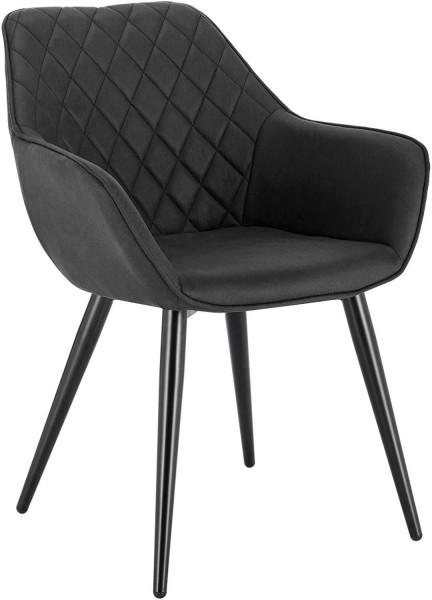 Esszimmerstühle mit Armlehen aus Stoff - Modell Kevin, Anthrazit