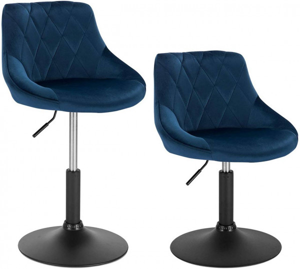 Set of 2 velvet bar stools - model Sonia