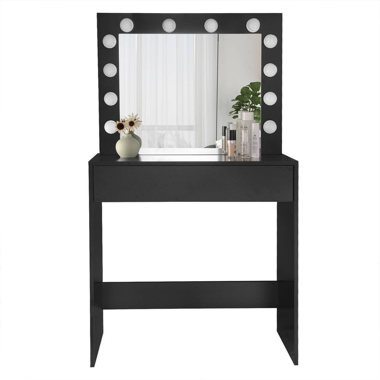 Dressing table with LED lighting made of wood, black