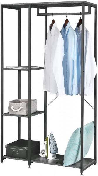 Garderobenständer & Schuhregal mit Ablage, aus Holz und Stahl,schwarzer marmor