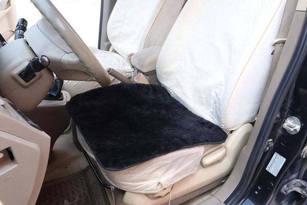 Lambskin Wool Fleece Car Seat Cushion 100% Genuine Sheepskin Square Car Seat Covers Chair Pad, ca.1.8cm thick