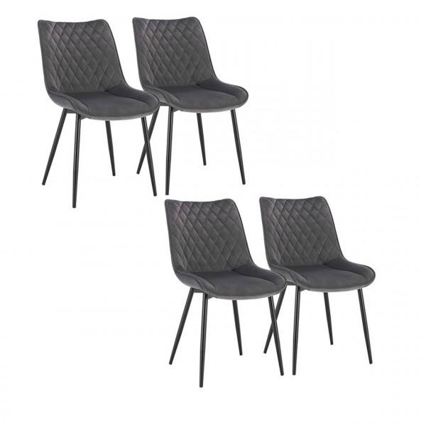4er-Set Esszimmerstuhl Küchenstuhl Polsterstuhl aus Samt