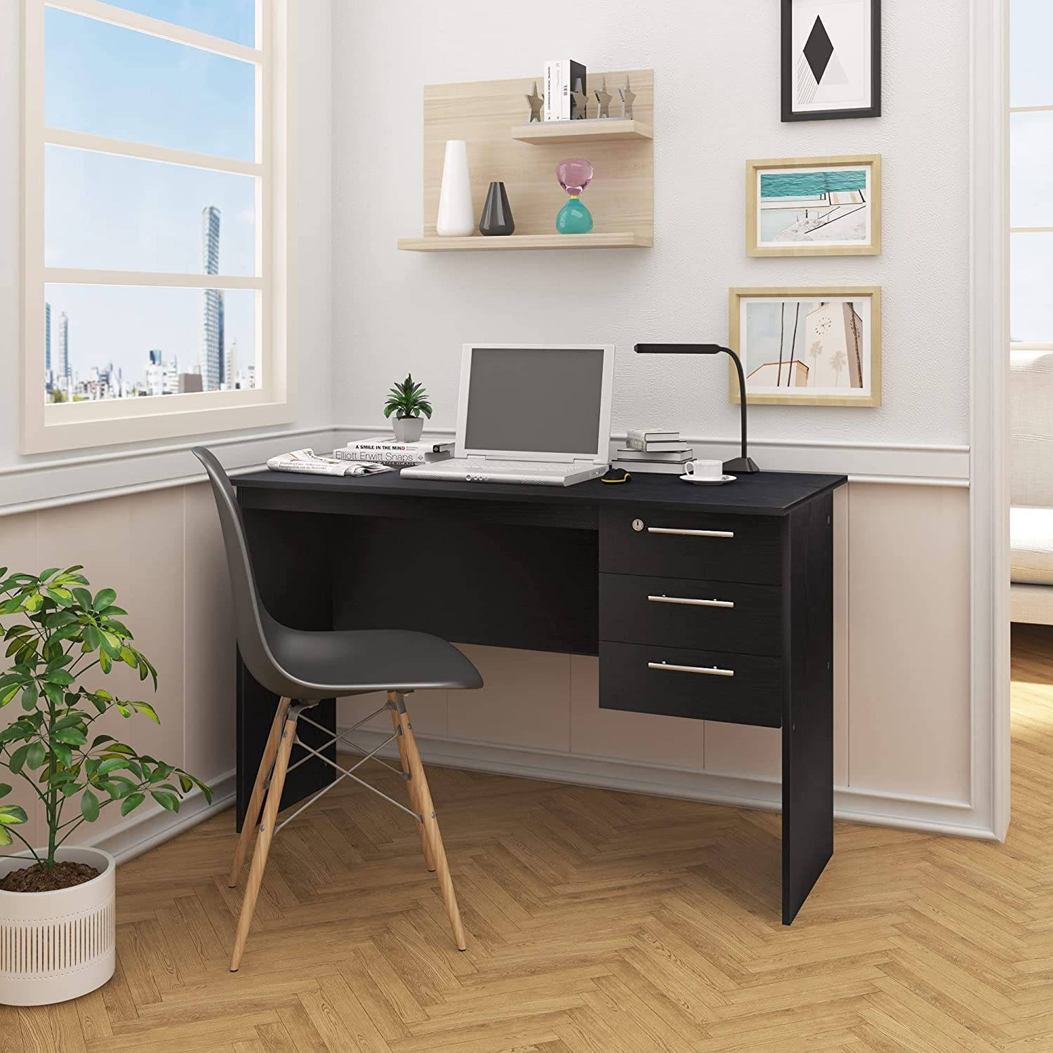 - Wooden Desk With 3 Drawers And Lock - Model Jan Woltu.eu