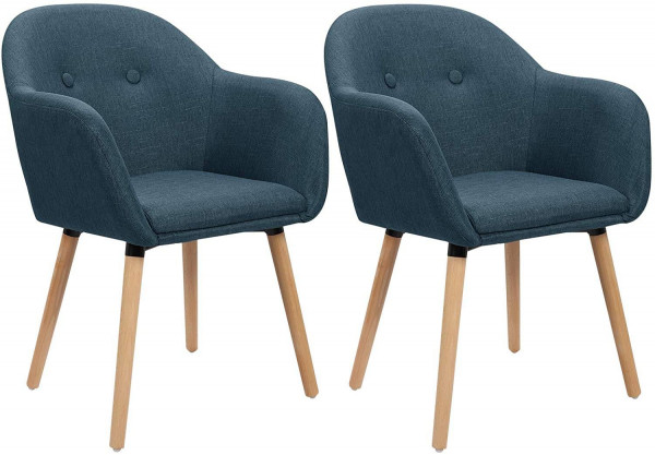 Set of 2 linen dining chairs
