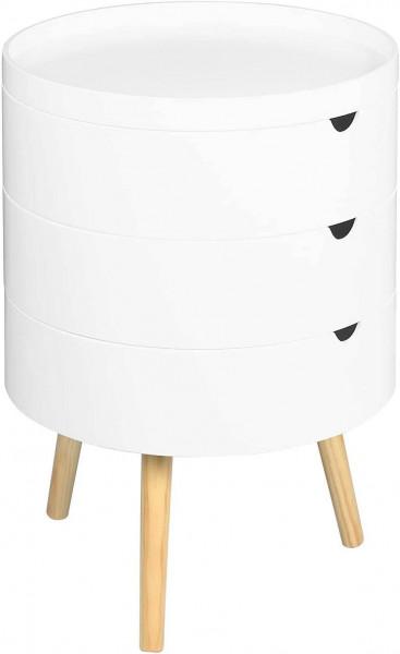 Nachttisch & Nachtkommode mit Stauraum aus Holz in Farbe Weiß