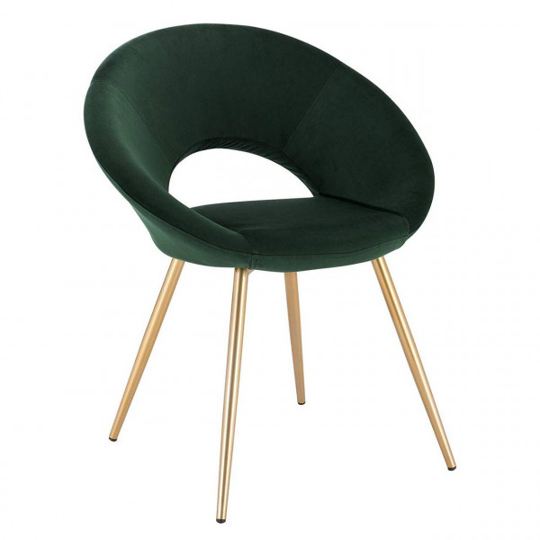 Velvet dining chair with metal legs, model Karin
