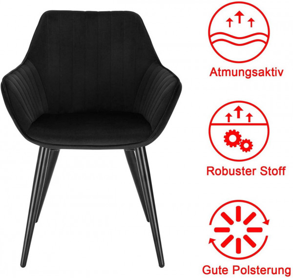 Dining chair with armrests made of velvet and metal legs - model Kerstin