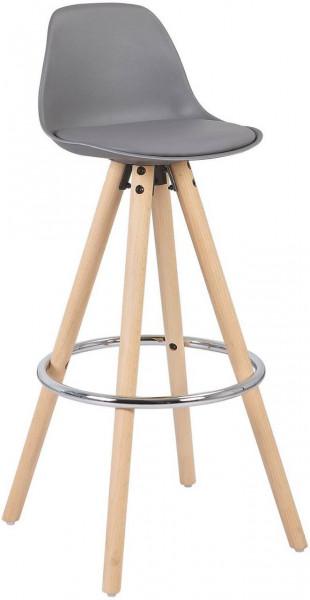 Barstuhl aus Kunststoff Holzgestell mit Lehne Joyce, grau