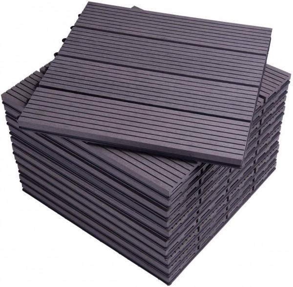 WPC Composite Decking Tiles Set of 11 Interlocking Woodgrain Terrace Tiles Flooring with Click System