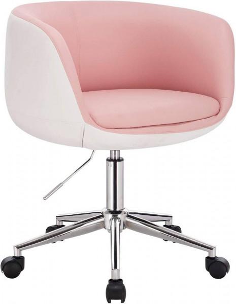 Bürohocker Arbeitshocker aus Kunstleder Polina, rosa-weiß