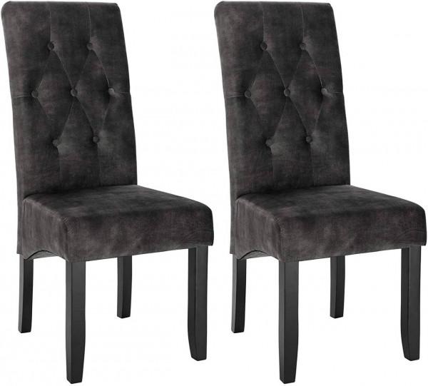 2er-Set Küchenstuhl aus Samt & Holzbeine Karina, dunkelgrau