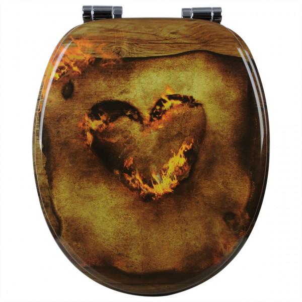 WC-Sitz MDF mit Absenkautomatik Heart Burning