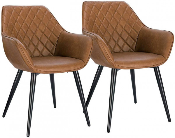 Set of 2 leatherette kitchen chairs - model Samira
