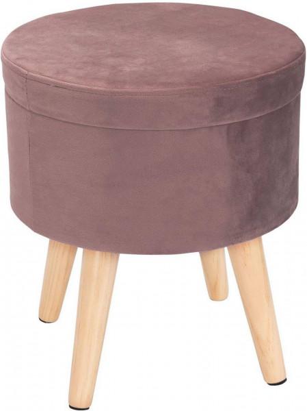 Sitzhocker mit Stauraum aus Samt, Deckel abnehmbar Qina, Rosa