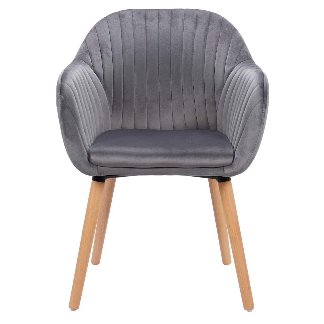 Esszimmerstühle Küchenstuhl Polsterstuhl Design Stuhl Samt Cremeweiß BH95cm-2