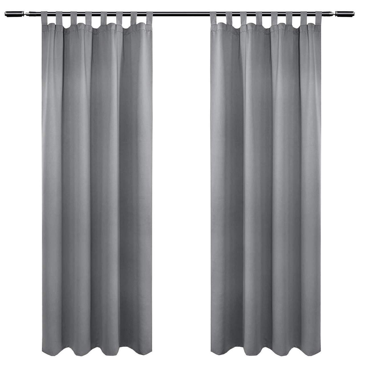 118er Set Vorhang Blickdicht mit 18 Schlaufen und Raffhalter