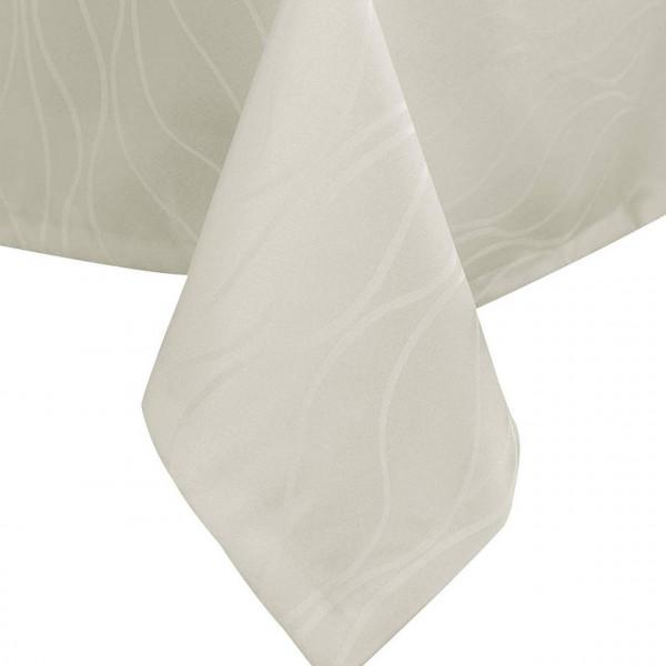 Tischdecke Damast Streifen, Wellen Design mit Saum, Creme
