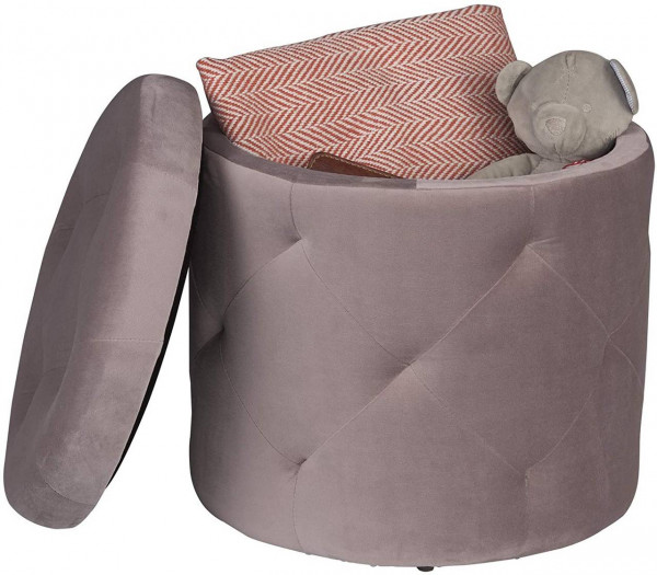 Sitzhocker aus Samt mit Stauraum 39,5x39,5x40cm, Rosa
