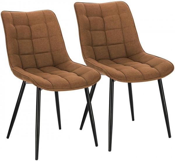 2er-Set Küchenstühle aus Stoffbezug Metallbeine Elif, Braun
