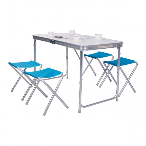 Camping Table Silver+White with 4 Chairs Adjustable