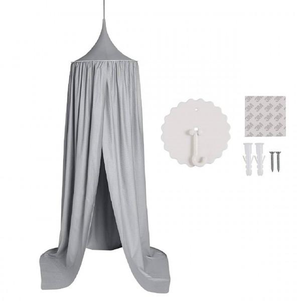 Baldachin Kinderzimmer, Betthimmel aus Polyester 230 cm, grau
