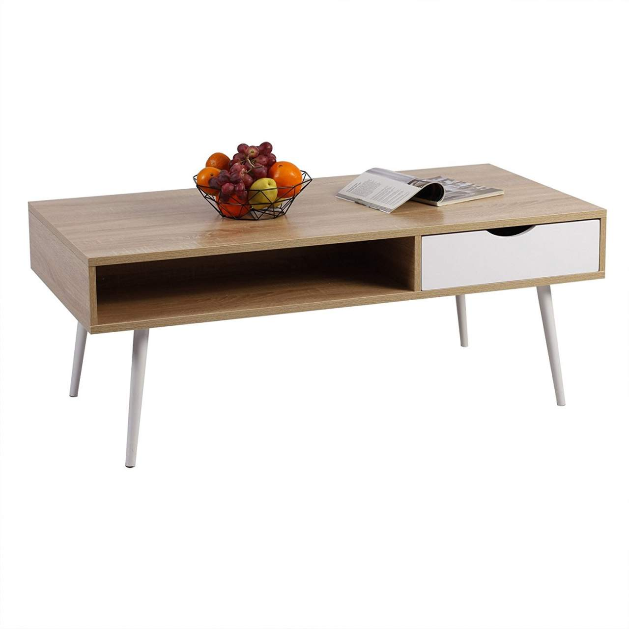 - Wooden Coffee Table With Drawer And Open Compartment Woltu.eu