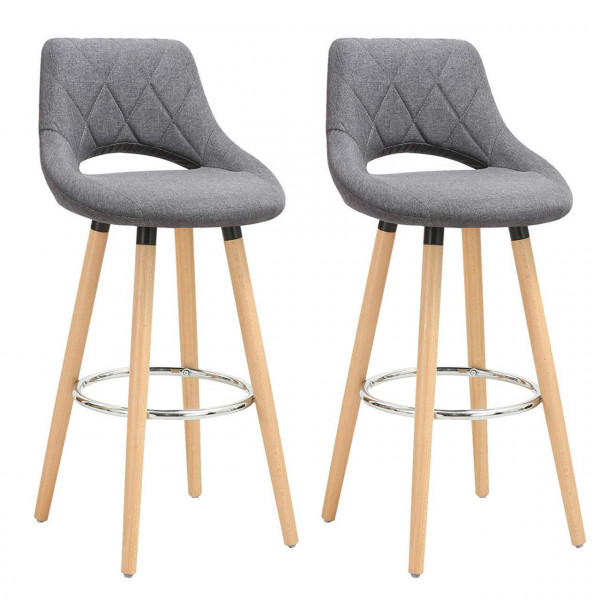 Linen bar stool with back & footrest, 2pcs set, model Phillipp