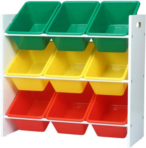 Kinder Aufbewahrungsregal mit 9 Kisten Mehrfarbig