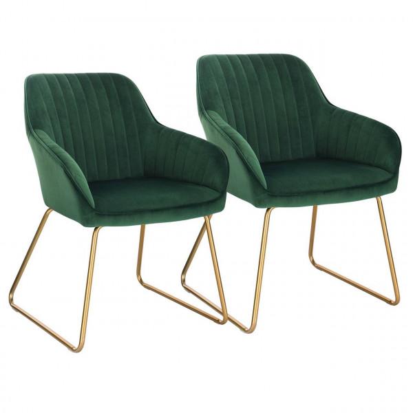 2er-Set Esszimmerstühle aus Samt - Modell Kerstin, Dunkelgrün