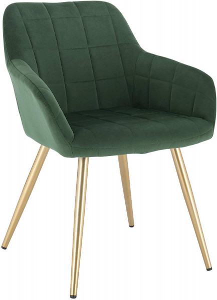 Velvet dining chair with golden legs