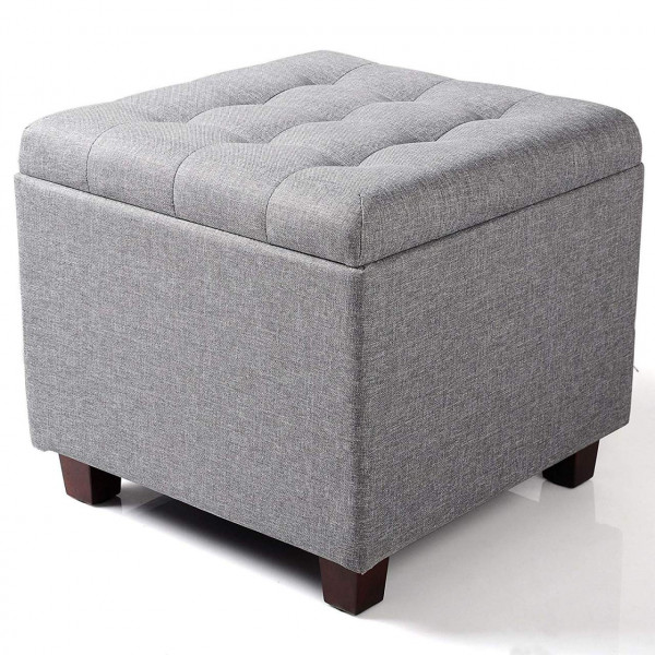 Linen sitting stool with storage space, removable lid - model Quati