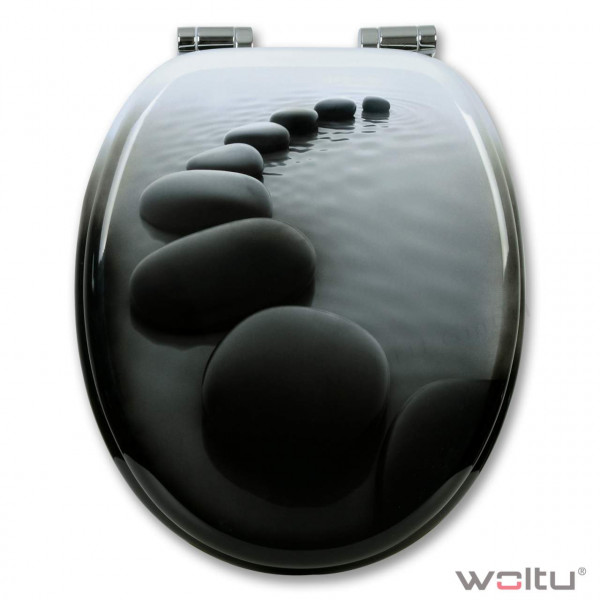 WC-Sitz MDF Schwarze Steinen mit Absenkautomatik