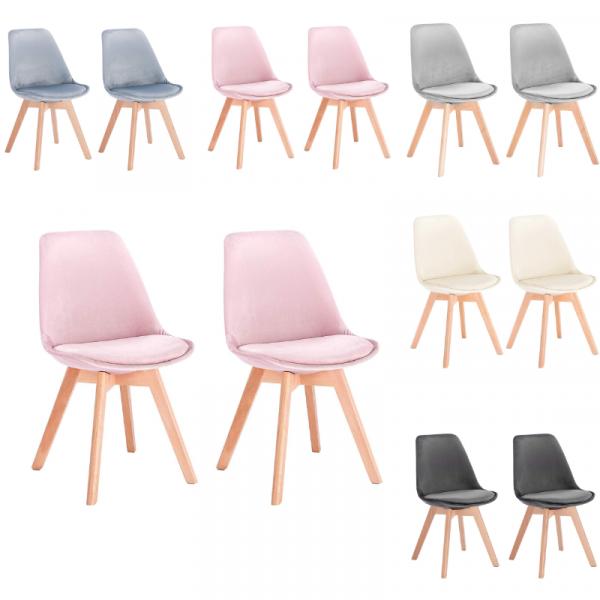 Esszimmerstühle 2er Set aus Samt Massivholz