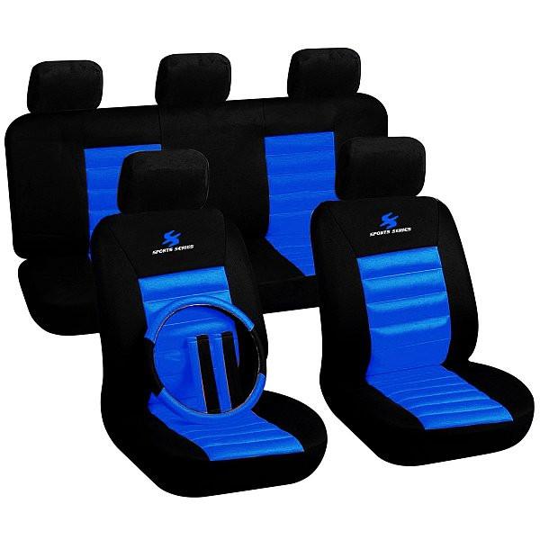 Auto Sitzbezüge Blau/Schwarz