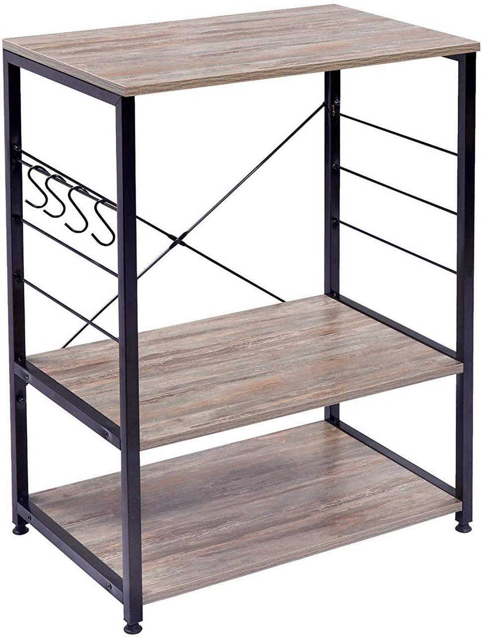Standregal aus Holz & Metall mit 10 Ablagen für Küche