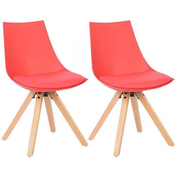 Schöne Designer Esszimmerstühle 2er Set aus Kunstleder & Holz im Rot & Schwarz bei Woltu