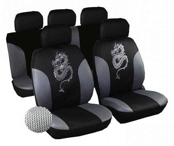 Auto Sitzbezüge Drachen Schwarz/Grau