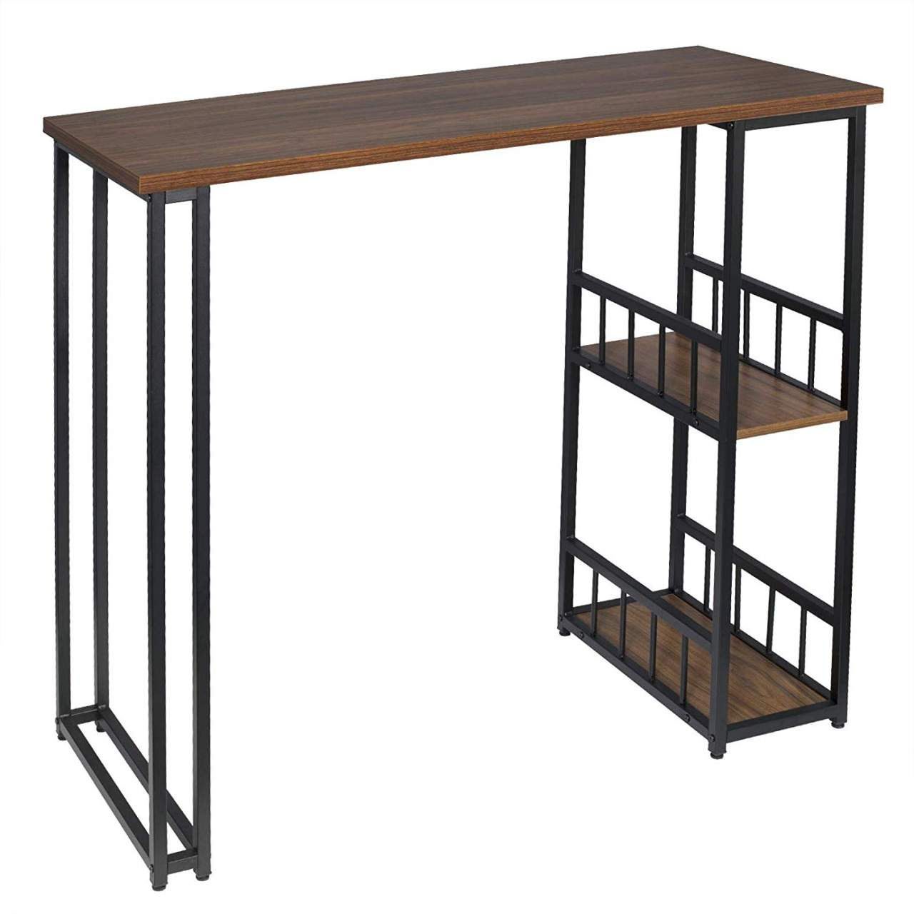 Kitchen Bar Counter Table With 2 Tier Storage Rack Shelves For Beverage Display Shelving Strong Metal Frame Woltu Eu